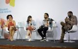 Jornalista Flávia Oliveira dialoga com os escritores Camila Fremder, Pastor Henrique Vieira e o ator/escritor Lázaro Ramos / Foto de RAFAELA CASSIANO - PLURALE