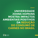Estudo da Universidade Johns Hopkins comprova: redução no consumo de carnes, leite e ovos diminuiria o impacto dos brasileiros sobre as emissões de gases de efeito estufa no país