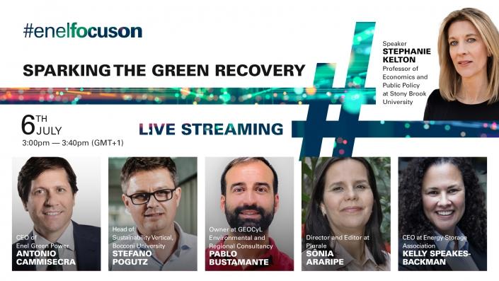 Banner do evento #EnelFocusOn, realizado em 6 de julho de 2020. Em tema a recuperação verde.
