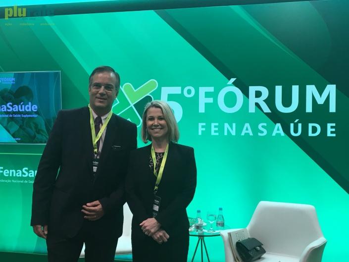 Presidente da FenaSaúde, João Alceu Amoroso Lima, e Diretora Executiva da Entidade, Vera Valente, participaram de coletiva de imprensa do 5º Fórum FenaSaúde, em Brasília.  Foto de Sônia Araripe (Plurale)